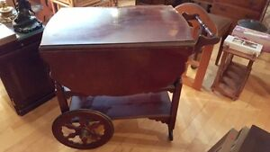 Antique dropleaf tea wagon serving trolley with a drawer West Island Greater Montréal image 4