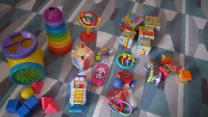 Lot of baby rattles and toys