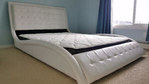 Like-New Modern Leather Bed - Queen (White) O.B.O.