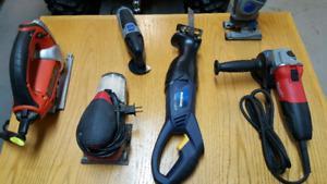 Tools (grinder, rip saw, jig saw, sander, dremel set)