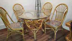 Glass dining table and four chairs London Ontario image 1