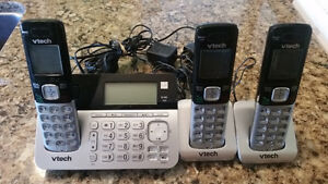 VTECH CS6858-3 Cordless Phone 3 Handset Answering System