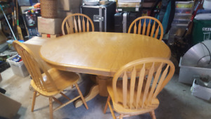 Oak finish kitchen table and 4 chairs