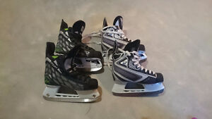 Two pairs of like new youth skates