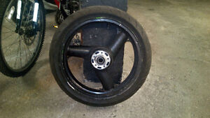 Front rim and tire for 1993-1995 ZX750R (M1-M2) fits others