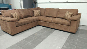 Brown Sofabed Sectional Microsuede