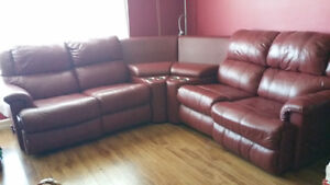 REDUCED!!! Red Leather Sectional Entertainment Chesterfield Unit St. John's Newfoundland image 2
