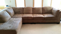 Oakdale 3-Piece Microsuede Sectional (Left Chaise) - Cocoa