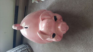 Gigantic ceramic pig piggy bank. 2 feet long