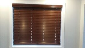2 Customized faux wood blinds-chocolate (52'' wide & 45'' long)
