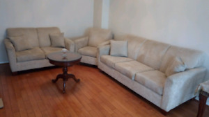 3 piece sofa set 3+2+1, suede fabric