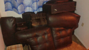 Must Move. Brown Leather couch and love seat.