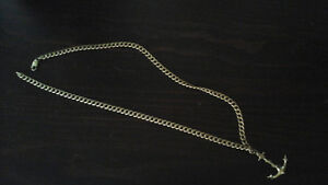 MEN'S 10K GOLD CHAIN AND ANCHOR PENDANT