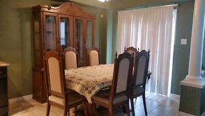 Real wood table and hutch