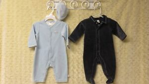 3 Pce Baby Boy Sleepers & Hat Blue & Navy Size 3-6 Mths