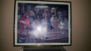 Arthur Sarnoff Framed Print DOGS PLAYING POOL