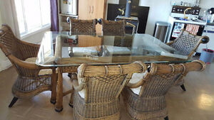 One of a kind glass top table and chairs