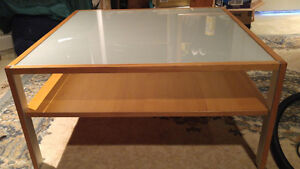 Unique Square 4 ft. X 4 Ft. Glass Top Coffee Table.