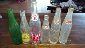 Six old Pop Bottles Pepsi Vernors Big Giant