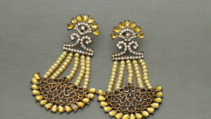 Indian Bollywood Kundan Rhinestone Earrings Jewellery Set.