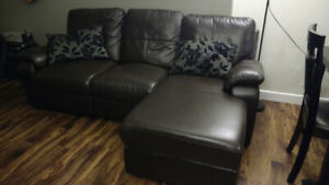 Genuine Leather Sectional Sofa, Dark Brown,  FREE MUST GO
