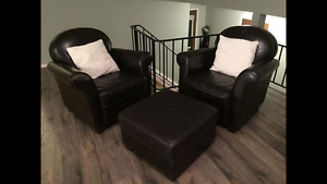 2 DARK BROWN CHAIRS WITH 1 OTTOMAN!!!