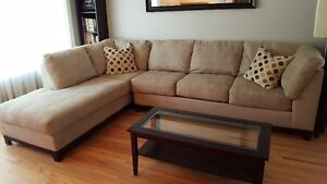 Large Sectional Couch - like new w/free leather chaise lounge