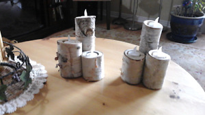2. -Birch 3 log candle holders with (ring) storage