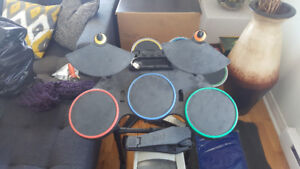 Wii Guitar Hero Drum Set with Drum Sticks and Foot Pedal