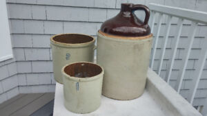 Antique Stoneware Crockpots and Large Jug