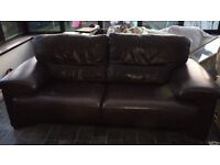 Brown leather sofa (3 seater) and 2 chairs