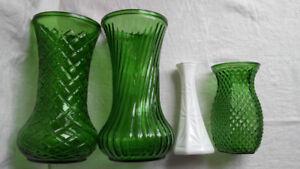 Vintage Hoosier Green Glass Vases $5 each or 3 for $10