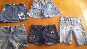 Girls size 14 Jean skirts and shorts