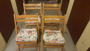 4 beautiful wood folding chairs