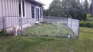 Chain link fence with hardware
