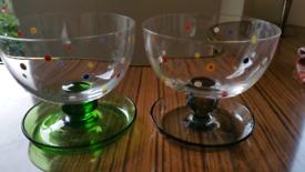 Vintage/ Retro - Handpainted glass cereal/dessert bowls