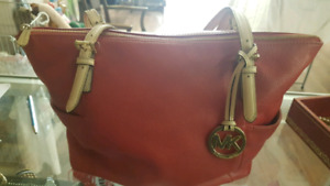 Red leather authentic Michael Kors purse