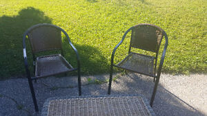 2 RESIN CHAIRS & WICKER COFFEE TABLE