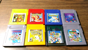Lot x8 cassettes jeux gbc game boy color pokémon mario