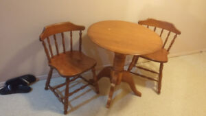 Real Wood Round Table with 2 Wooden Chairs