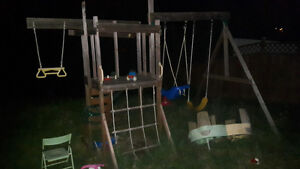 Outdoor swing set play structure