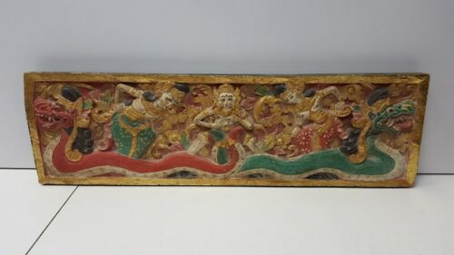 Vintage Southeast Asian Carved Wooden Relief Painted Panel with Nagas