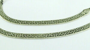 """versace Sterling Silver Greek Design Necklace Chain 20"""" inch"""