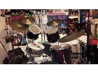 Session Pro, Wine Red 5 Piece Acoustic Kit with hardware!