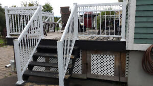 White aluminum deck and hand rails for sale