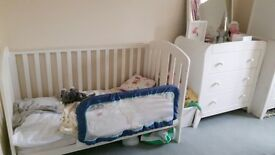 Mamas and papas cot bed with mattress, changing table drawer and cupboard