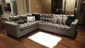 New geometric grey linen Sectional