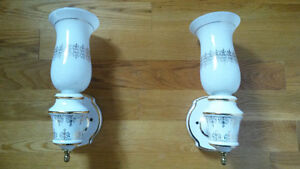 Gorgeous Pair of Porcelain Gold Accent Wall Sconces ($Reduced)