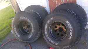 Set of 4   35inch tires on 15.5 inch rims