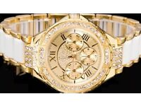 New Exquisite Gold White & Diamanté Encrusted Ladies Woman's Wrist Watch + Gift Box.